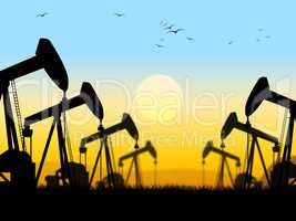 Oil Wells Shows Nonrenewable Fuel And Exploration