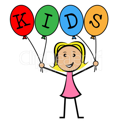 Kids Balloons Means Young Woman And Youngsters