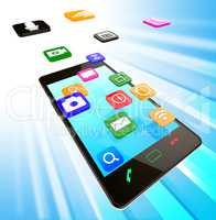 Social Media Phone Means News Feed And Cellphone