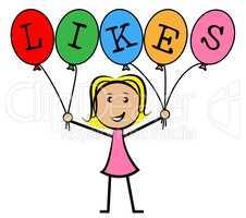 Likes Balloons Indicates Social Media And Kids