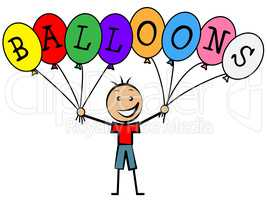 Balloons Boy Means Child Celebrate And Kid