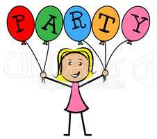 Party Balloons Represents Young Woman And Kids