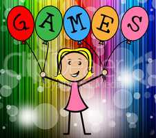 Games Balloons Represents Young Woman And Bunch