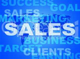 Sales Words Represents Corporation Sell And Promotion