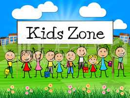 Kids Zone Banner Shows Free Time And Child