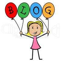 Blog Balloons Indicates Young Woman And Kids