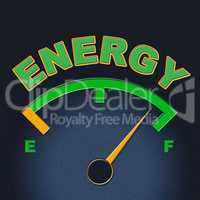 Energy Gauge Shows Power Source And Dial