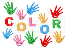 Handprints Colorful Indicates Watercolor Childhood And Human