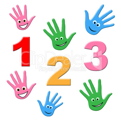 Counting Kids Shows One Two Three And Calculate