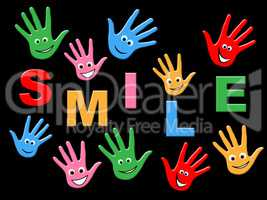 Handprints Smile Represents Child Painted And Childhood