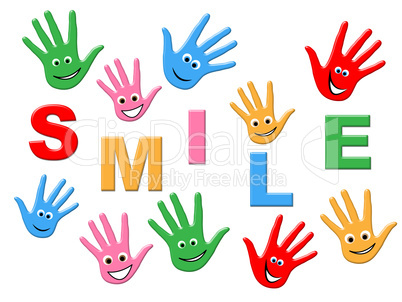 Joy Smile Indicates Drawing Child And Colorful