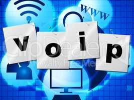 Voip Communication Shows Voice Over Broadband And Chat