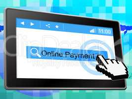 Online Payment Represents World Wide Web And Amount