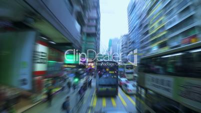 Dense Traffic on the Streets of Hong Kong. Fast Motion