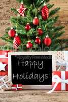 Colorful Christmas Tree With Text Happy Holidays
