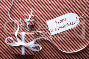 Two Gifts With Label, Frohe Weihnachten Means Merry Christmas