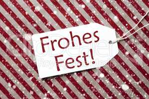Label On Red Paper, Frohes Fest Means Merry Christmas, Snowflakes