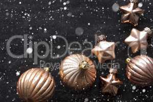 Bronze Christmas Tree Balls, Snowflakes And Copy Space