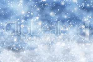 Blue Christmas Background With Snow, Snwoflakes, Stars