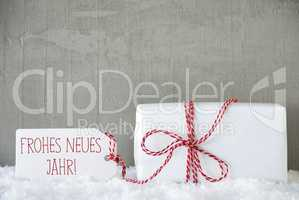 One Gift, Urban Cement Background, Neues Jahr Means New Year