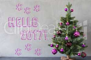 Christmas Tree, Cement Wall, Text Hello 2017