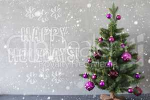 Christmas Tree With Snowflakes, Cement Wall, Text Happy Holidays