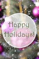 Blurry Vertical Rose Quartz Balls, Text Happy Holidays