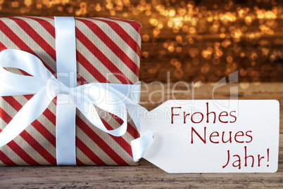 Atmospheric Christmas Gift With Label, Neues Jahr Means New Year