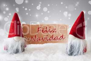 Red Gnomes With Snow, Feliz Navidad Means Merry Christmas