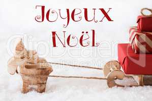 Reindeer With Sled On Snow, Joyeux Noel Means Merry Christmas