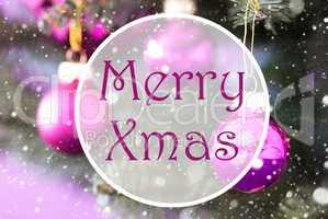 Blurry Rose Quartz Christmas Balls, Text Merry Xmas