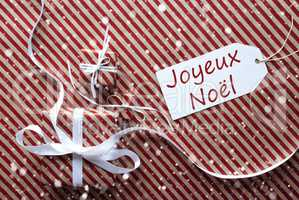 Gifts With Label, Snowflakes, Joyeux Noel Means Merry Christmas