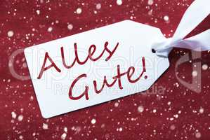 Label On Red Background, Snowflakes, Alles Gute Means Best Wishes