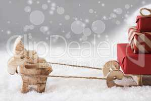 Reindeer With Sled, Copy Space, Silver Bokeh Background