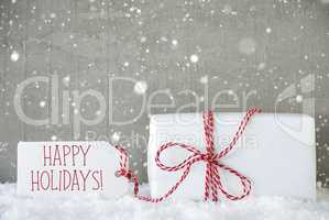 Gift, Cement Background With Snowflakes, Text Happy Holidays