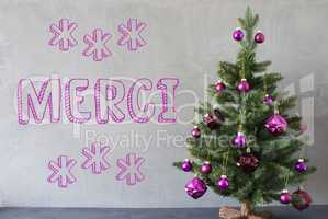 Christmas Tree, Cement Wall, Merci Means Thank You