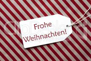 Label On Red Wrapping Paper, Frohe Weihnachten Means Merry Christmas