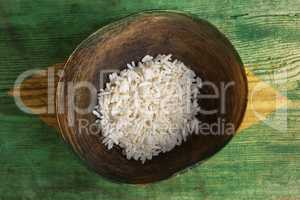 Poverty concept, bowl of rice with Brazilian flag