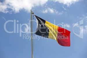 National flag of Belgium on a flagpole