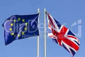 European Union flag and flag of UK on flagpole