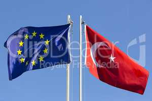European Union flag and flag of Turkey on flagpole