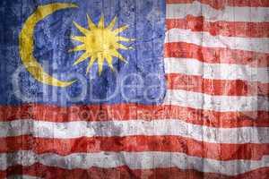 Grunge style of Malaysia flag on a brick wall