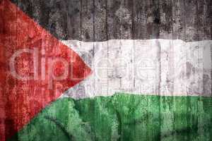 Grunge style of Palestine flag on a brick wall