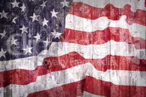 Grunge style of United States flag on a brick wall
