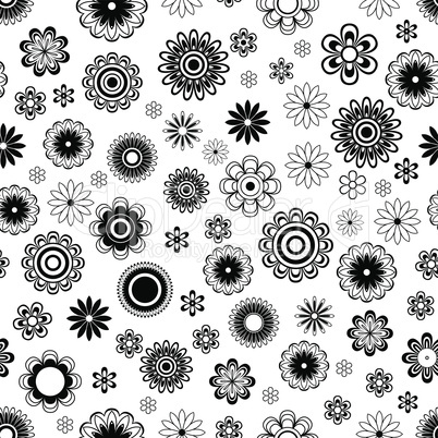 Seamless pattern with flowers over white