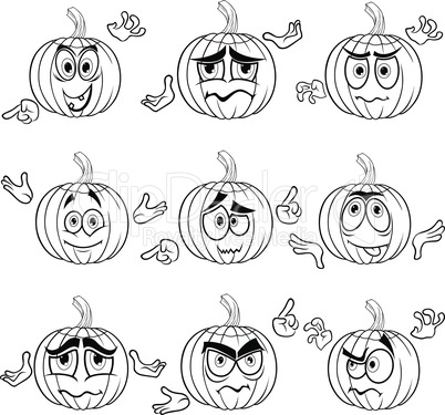 Amusing gesticulating pumpkin outlines