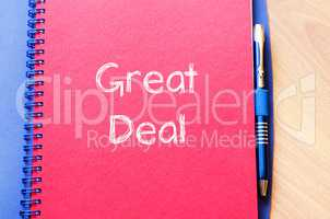 Great deal text concept on notebook
