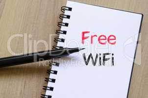 Free wifi text concept on notebook
