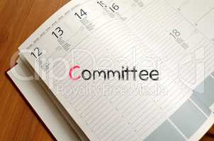 Committee text concept on notebook