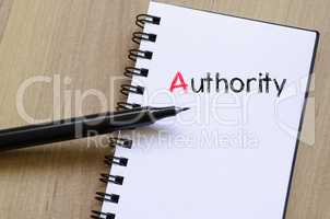 Authority text concept on notebook